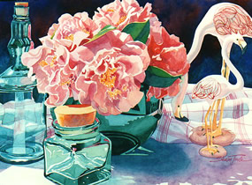 Two Flamingos & Camellias